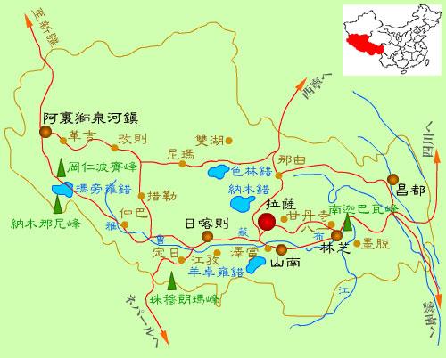チベット観光地図 「セイナン・スカイ・チベット」~チベット観光専門&チベット旅行代理店About